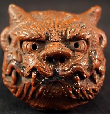 Rare Head of Mythical Beast Inkstone or Trinket Box Made from Ceramic / Pottery