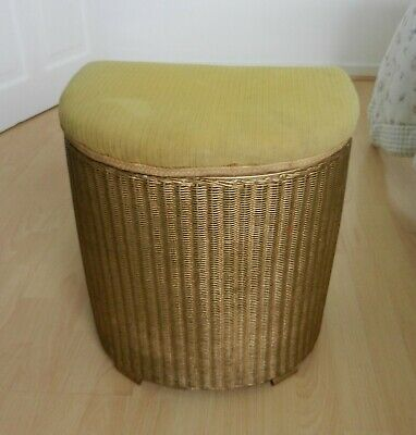 Lloyd Loom Vintage Laundry Basket with Cushioned Seat Completely Original