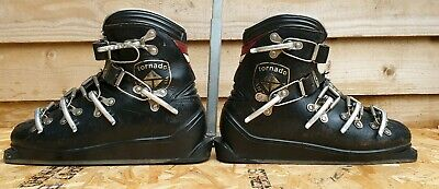 Vintage Tornado Leather Ski Boots With Carry Cage.