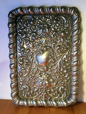 """Antique Silver Plated Green Man Embossed Tray, 12 x 8½"""""""