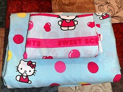 VERY RARE STYLE VINTAGE Sanrio Hello Kitty Twin Sheet & Pillow Case 2 Piece Set