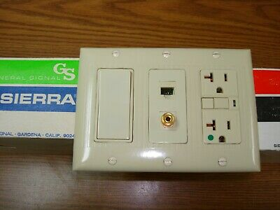 Vintage Uniline Ivory Decora GFCI Switch Outlet Cover Wall Plate 3 Gang Sierra