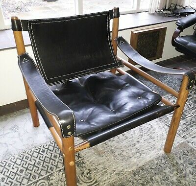 Rosewood & Black Leather Safari Sirocco Chair Sweden Mid-century1964 Arne Norell
