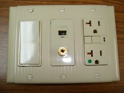 Vintage Uniline Ivory Decora GFCI Switch Outlet Cover Wall Plate 3 Gang P&S