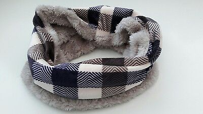 uk baby kids winter scarf snood faux fur very warm purple checked