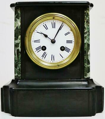 Antique French 19thC 8 Day Slate & Green Marble Gong Striking Mantel Clock