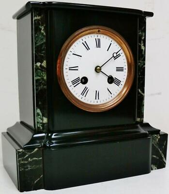 Small 19thC Antique French 8 Day Slate & Green Marble Bell Striking Mantel Clock
