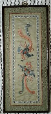 Antique Late 19th Century Chinese Silk Embroidered Panel Picture Framed