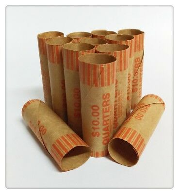New 144 Pcs Preformed Paper Coin Wrappers Tubes For 25 Cent  Quarter