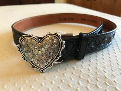 """NEW Justin Lil' Cowlgirl's black leather tooled belt w/ silver heart buckle 22"""""""