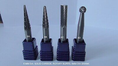 "BURRS,6mm dia ""SOLID CARBIDE"" (£6 each)  ROTARY, SHANK MOUNTED."