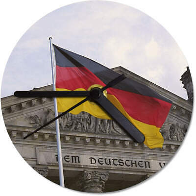 'German Flag & Reichstag Building' Printed Wooden Wall Clock (CK037147)