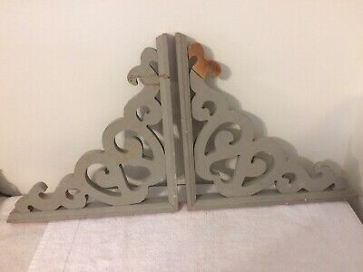 "2 Vintage Decorative 13.5"" Wooden Corbels Salvage Ornate Farmhouse"