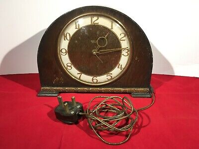Vintage Smith Sectric Mantel Clock Electric Operated - 27x7x20cm Untested - a645