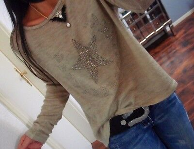 Mohair Fransen Blogger Musthave Chic 40 Pullover Strick Pulli Beige L 42 Wolle