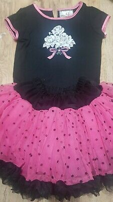 Girls pink/black 2 Piece Set/outfit top/layered skirt,6yrs,popatu,party time!