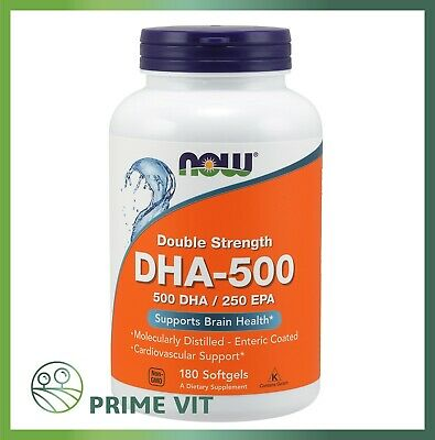 Now Foods DHA-500/EPA-250 Double Strength 180 Softgels Omega 3 fish oil