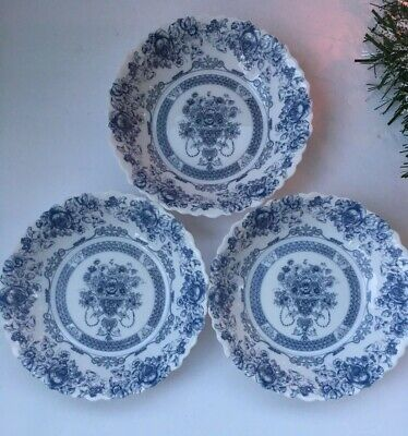 "Arcopal Honorine Soup Cereal Bowls 7"" France Scalloped Blue Rose Floral-Set of 3"