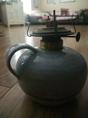 Vintage Stoneware Pottery Oil Lamp Base