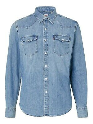 Retro LEVIS DENIM SHIRT RED TAB WESTERN CLASSIC Pearl buttons Blue S Super