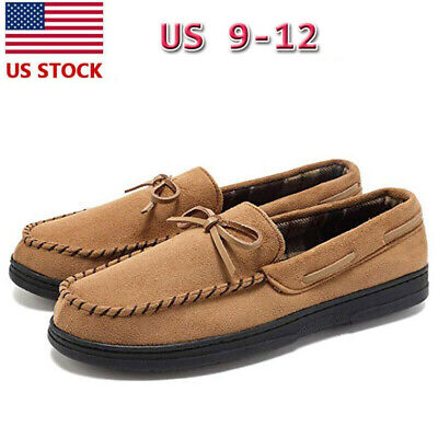 Men Loafer Slippers Suede Slip On House Shoes Driving Flat Moccasin Memory Foam