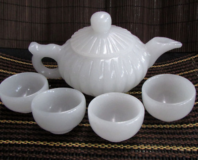 Chinese 100% natural handmade Afghanistan jade cup and tea pot bird lid