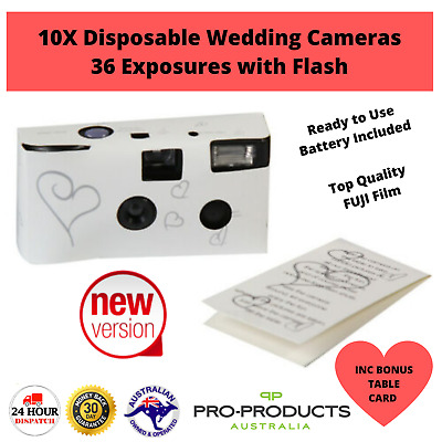 10 x HEARTS DISPOSABLE 36exp WEDDING Bridal CAMERA WITH FLASH INC TABLE CARD