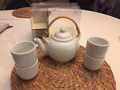 PIER 1 IMPORTS WHITE PORCELAIN TEA SET Teapot and 4 Cups NEW