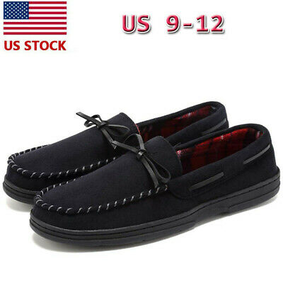 Men Shoes Casual Suede Loafers Slip On Slippers Memory Foam Rubber Sole Moccasin