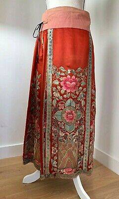 Antique Qing Dynasty Red Silk Chinese Wedding Skirt
