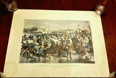 "1978 Vintage /""NYC CENTRAL PARK SKATING POND/"" CURRIER /& IVES COLOR Art Lithograph"