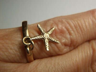 RARE RETIRED James Avery 14k Yellow Gold Starfish Dangle Ring Size 3 1/2