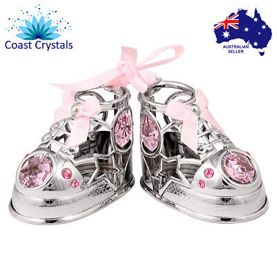 CRYSTOCRAFT Baby Booties Shoes with SWAROVSKI crystals Nursery Christening Gift