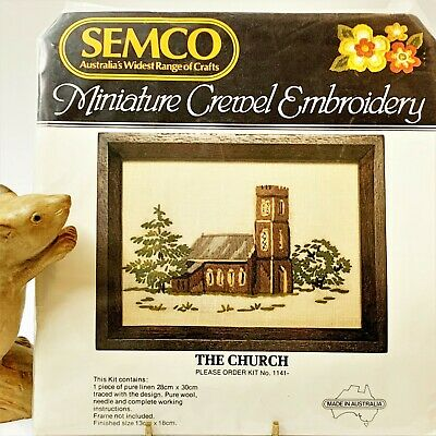 SEMCO Miniature Crewel Embroidery Kit, The Church, Finished Size 18x13cm