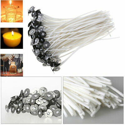 100Pcs Candle Wicks Cotton Core Waxed Wick with Sustainer for Candle Novelt D