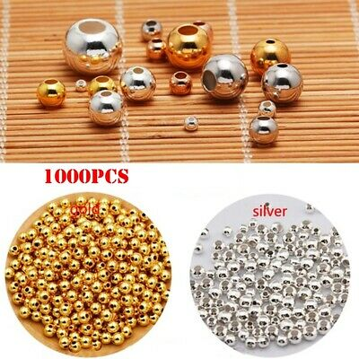 Wholesale Metal Round Spacer Beads Smooth Ball Seed Bead For Jewelry Making