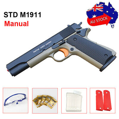 Manual ABS STD M1911 Gel Blaster Pistol Mag-fed Water Bullet Gel Ball Gun Toy AU