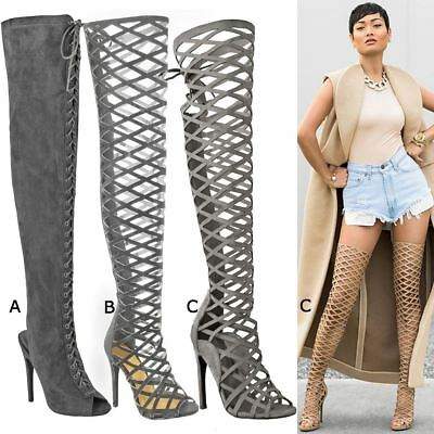 Womens Ladies Thigh High Boots High Heels Stilettos Sexy Knee High Shoes Size UK