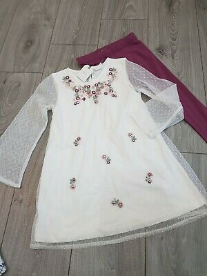 Next Girls Embroidered PARTY Tunic +  Leggings new Bnwt age 5 set girls XMAS