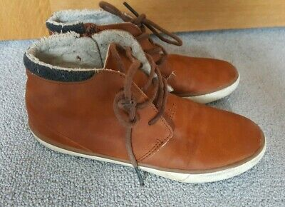 Next Boys Tan/Brown Fleece Lined Ankle Boots Shoes Size 2