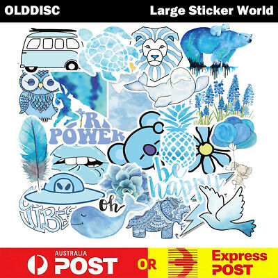 50pcs Cute Blue INS Style VSCO Vinyl Stickers Snowboard Luggage Car Laptop Phone