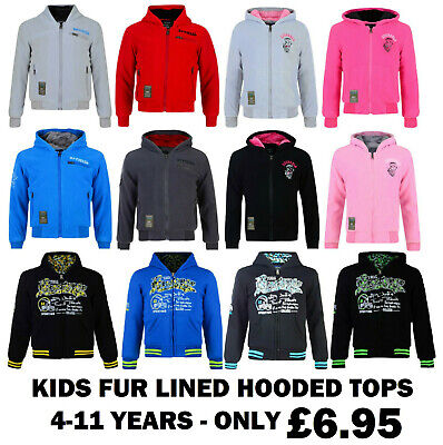 Boys Girls Hooded Top Fur Lined Zip Up Jacket Hoody Kids Mix Designs 4-11Y Bnwt