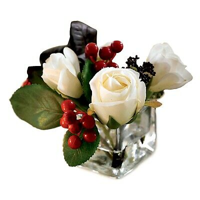 Artificial White Rose Flower Arrangement Vase Centrepiece Plant Realistic