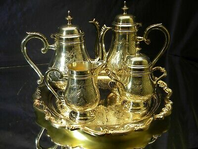 Six Piece Gorham Silverplate Heritage Pattern Coffee & Tea Service