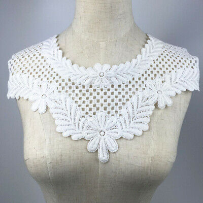 1PC White Hollow Lace Collar Trim Floral Embroidery Neckline Sewing Applique DIY