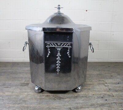 Art Deco 1920's Chrome Fireside Coal Bucket Scuttle With Insert.