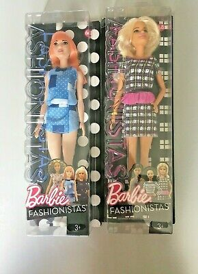 2 X Barbie Fashionistas Peplum Power Fashion Doll With Outfit & Shoes Age 3+