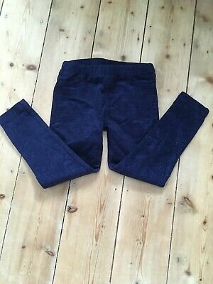 Girls blue sparkly trousers 5-6 years slim fit elasticated waist M&S