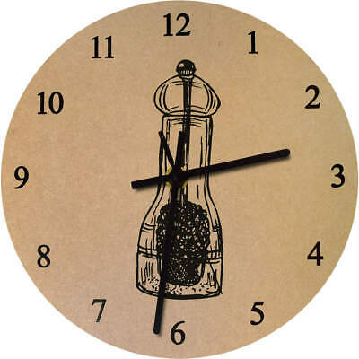 'Pepper Mill' Printed Wooden Wall Clock (CK015455)