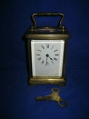 Antique Brass and Bevelled Glass Carriage Clock  France with Key